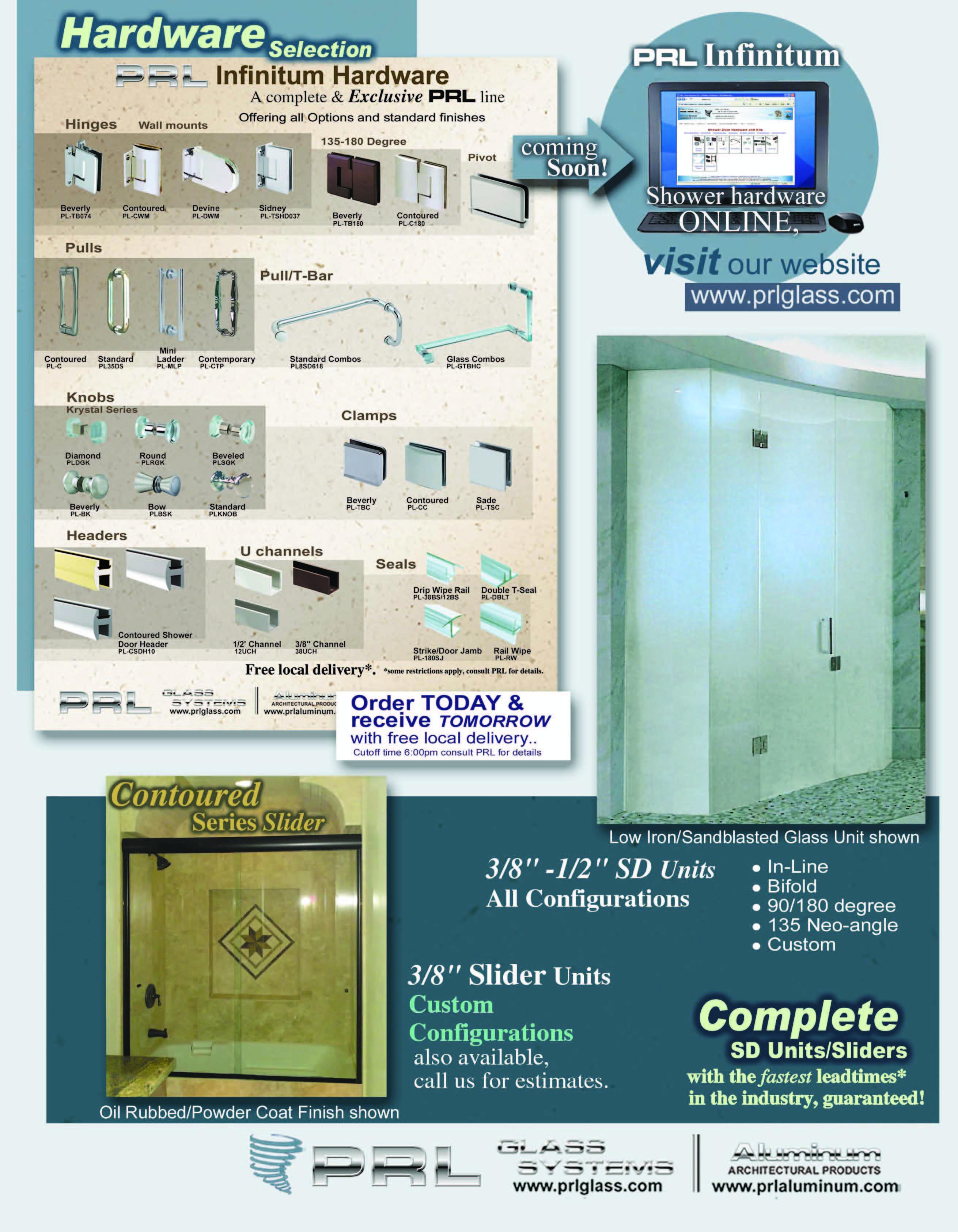 Shower Door Hardware, Handles, Mounts, Hinges, Kits and more.
