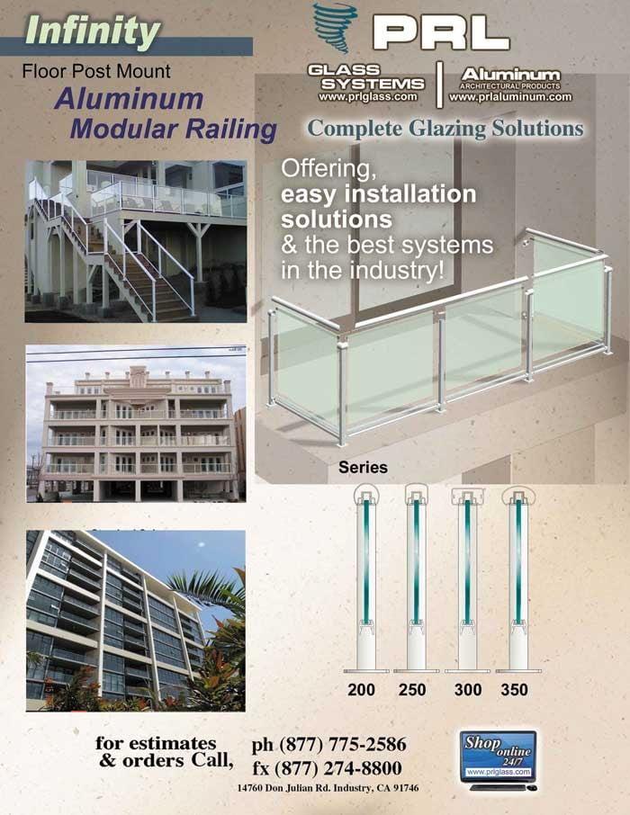 Infinity Aluminum Railing for 1/4 & 3/8 Glass