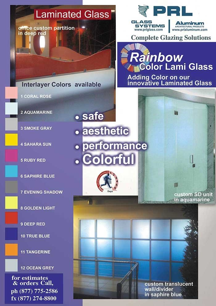 Laminated Colored Glass Design Possibilities are Nearly Endless
