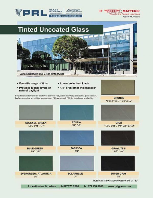 10 different shades of Tinted Uncoated Glass