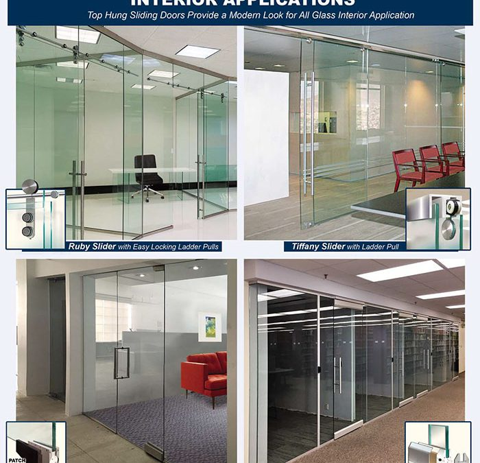 All glass door systems, complete, suitable for extensive interior applications