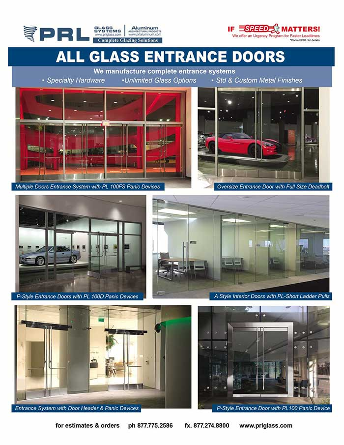 PRL's Interior and Exterior All Glass Entrance Doors and Hardware