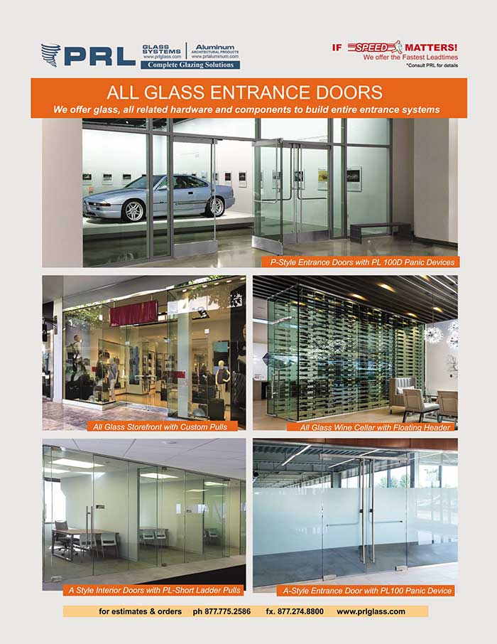All-Glass Entrance Doors. Standard, Custom & Complete Packages at PRL
