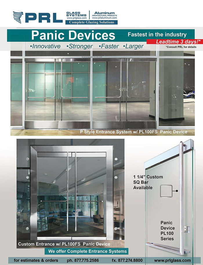 All glass panic device doors