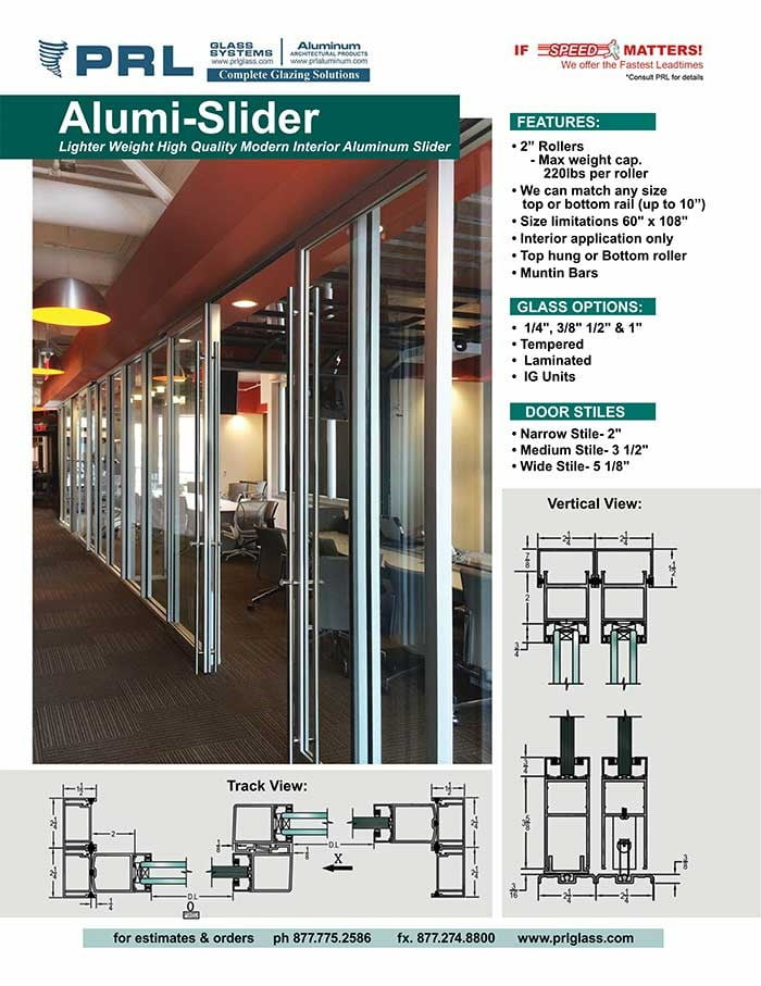 PRL's Alumi-Sliders Modern Interior Aluminum Sliding Door Systems
