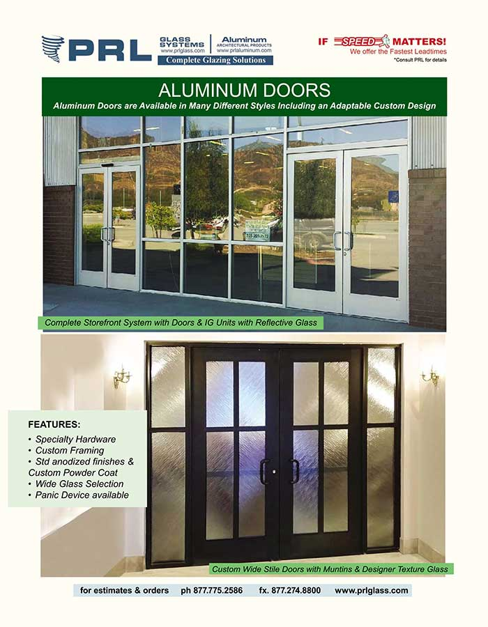PRL's Aluminum Entrance Doors. Bid Standard & Custom for Offices & Homes Today!