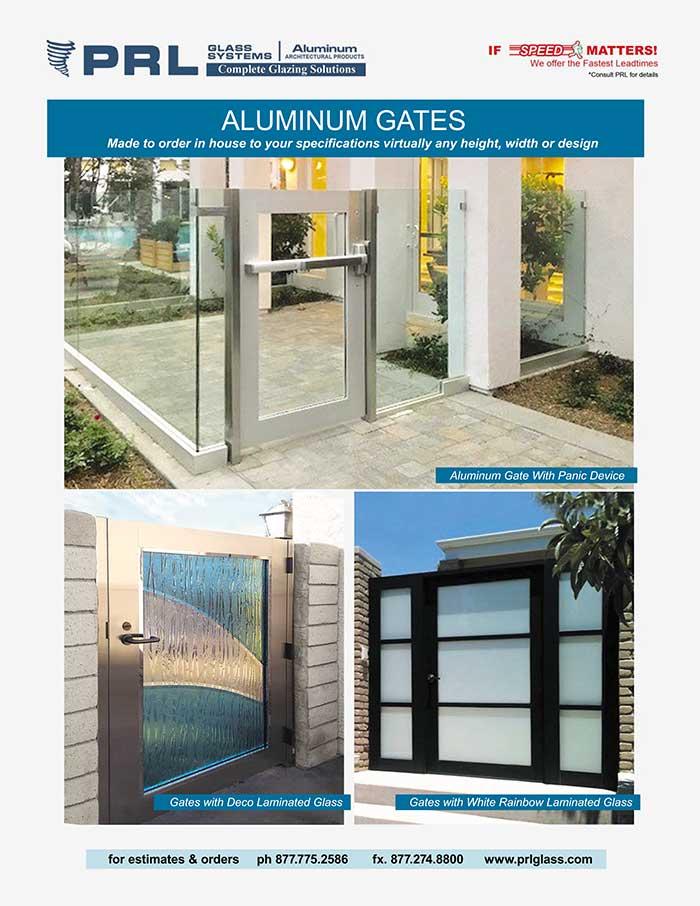Aluminum Framed Glass Gates. Build Them Your Way at PRL! Order Endless Designs!