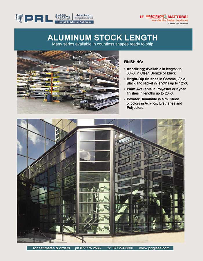 Shop Aluminum Storefront Stock Lengths at PRL. We've Got It All!