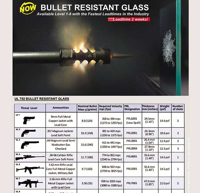 PRL's Bullet Resistant Glass for Threat Levels 1-8. The Best in Security