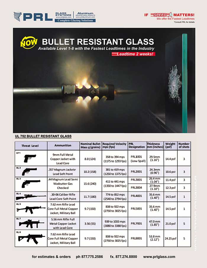 PRL's Bullet Resistant Glass for Threat Levels 1-8  The Best