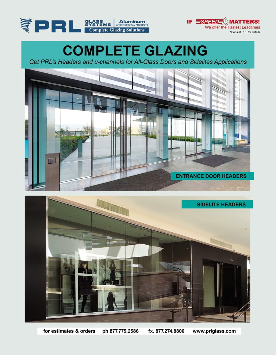 Get PRL's Headers and u-channels for All-Glass Doors and Sidelites Applications