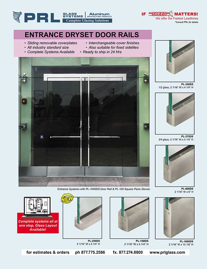 Rapid Dryset Door Rails. Order with PRL! Make All-Glass Door Installation a Breeze!