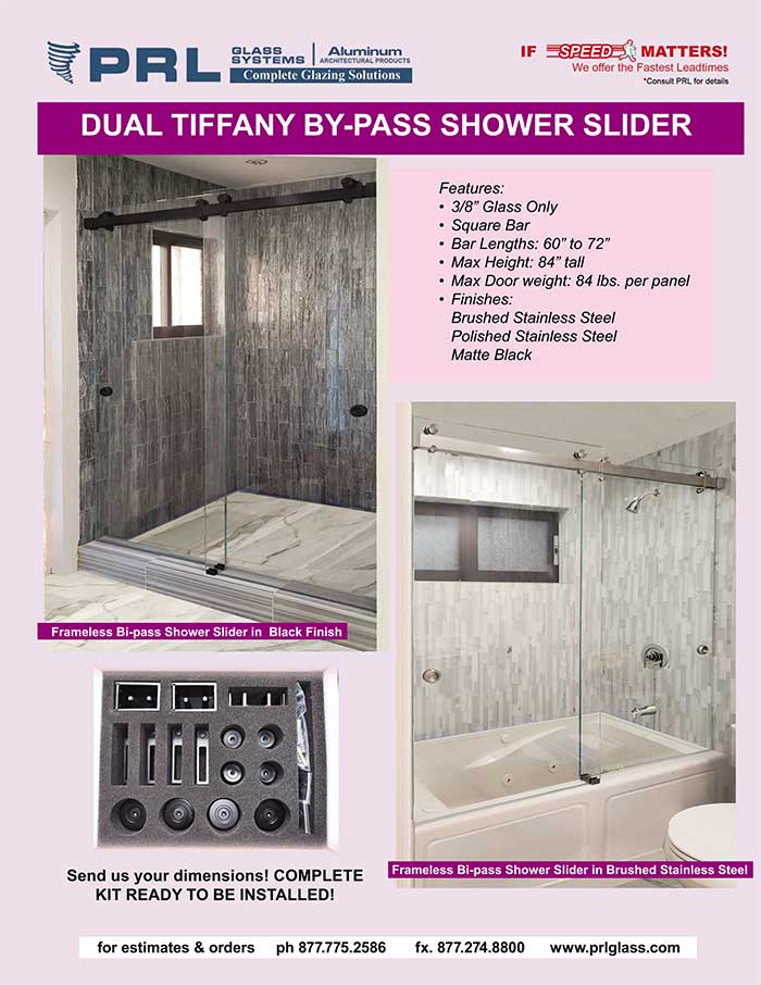 Get Dual Bypass Shower Door Sliders at PRL. New Tiffany Frameless Shower Systems!