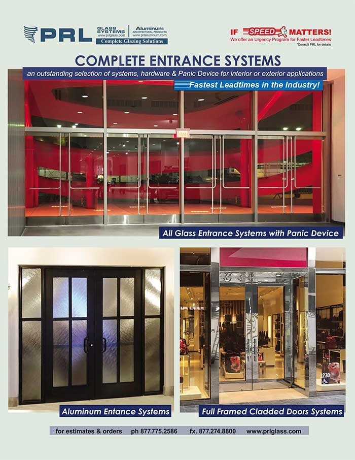 PRL's Complete Entrance Door Systems: All Glass, Full Framed & Aluminum Doors