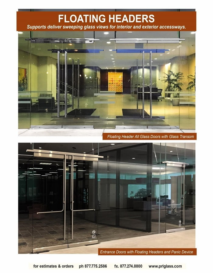 Floating Headers   Build Exquisite All-Glass Entrance Doors with PRL!