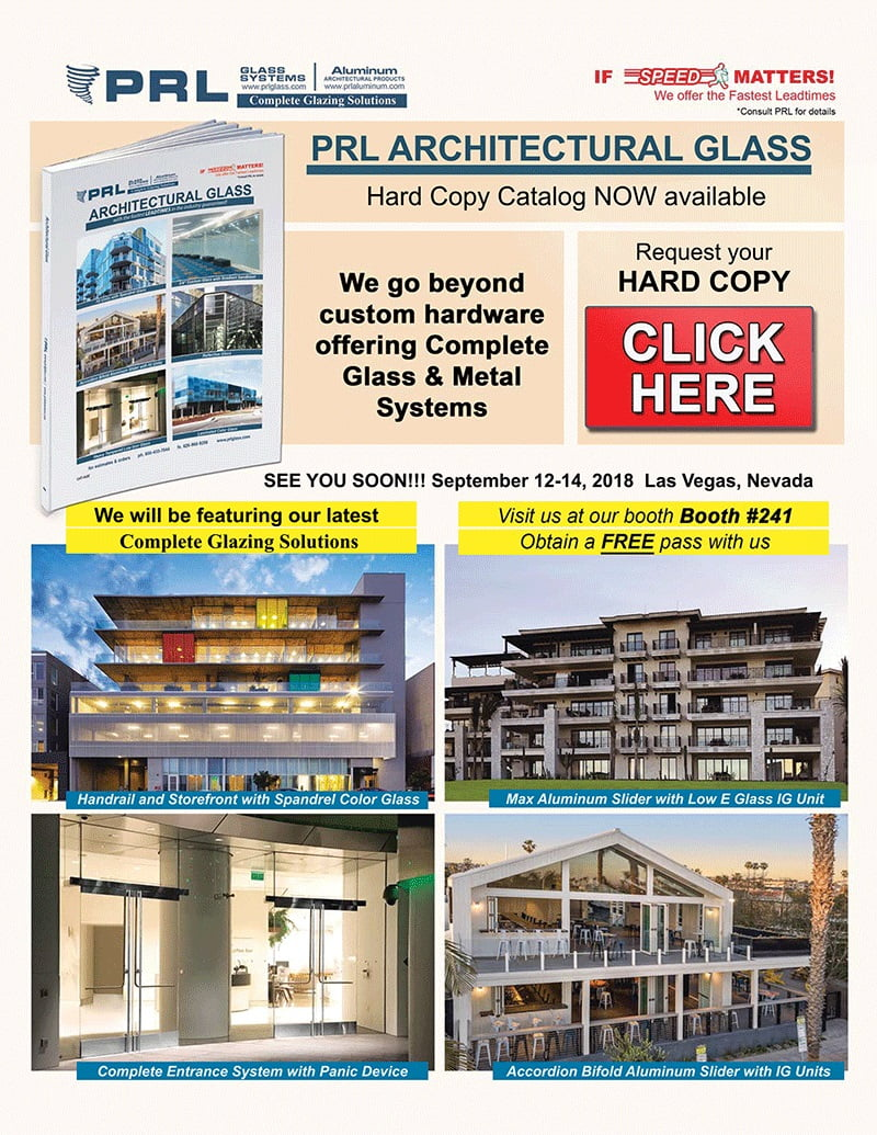 Don't Forget! Visit PRL at GlassBuild America & Get Our NEW 2018 Architectural Glass & Metal Catalog!