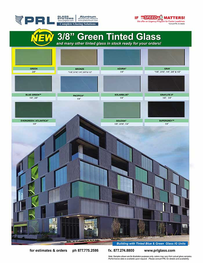 PRL is Proud to Announce We Now Carry 3/8″ Green Tinted Glass!