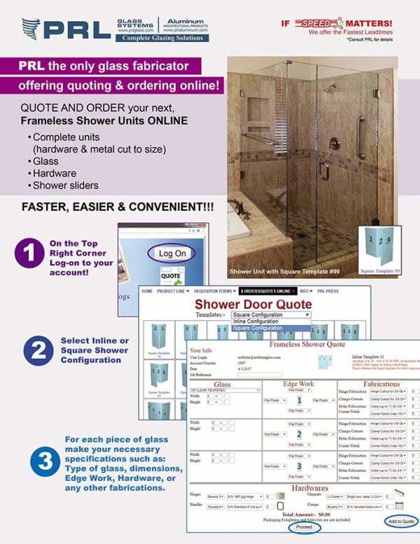 online frameless shower door ordering