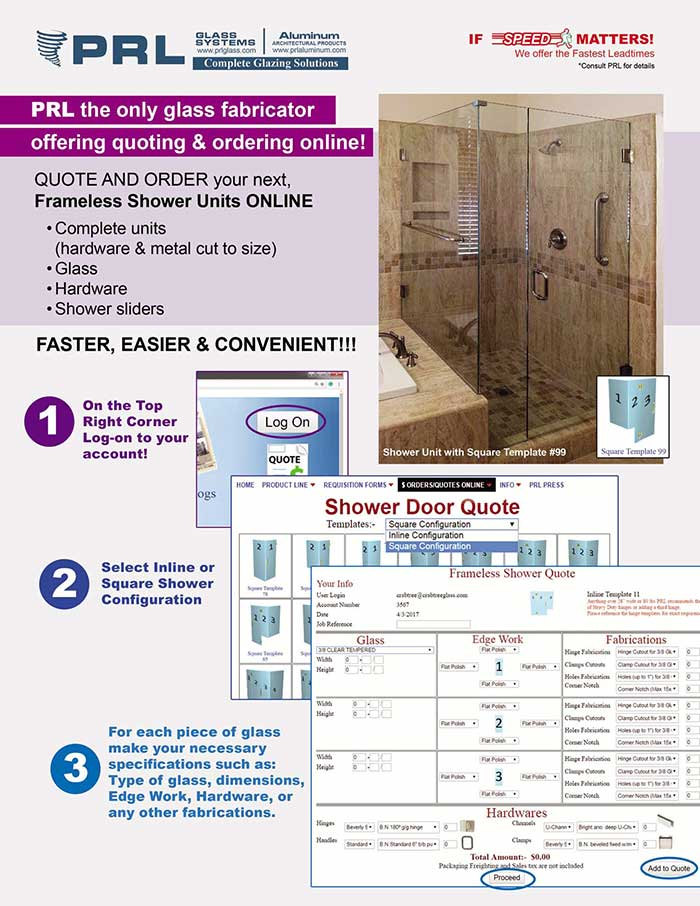 PRL's Quick & Easy Online Frameless Shower Door Ordering & Quoting System- It's a Snap!