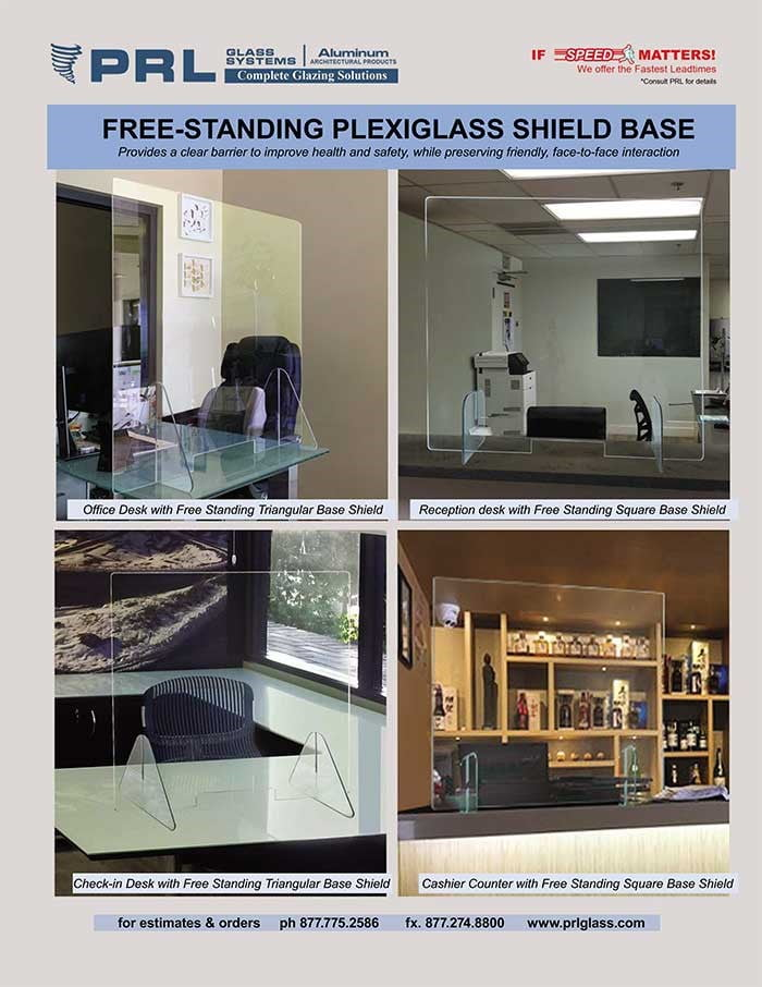 Protective Plexiglass Shields for Essential Businesses. Free-Standing, Movable Barriers at PRL!