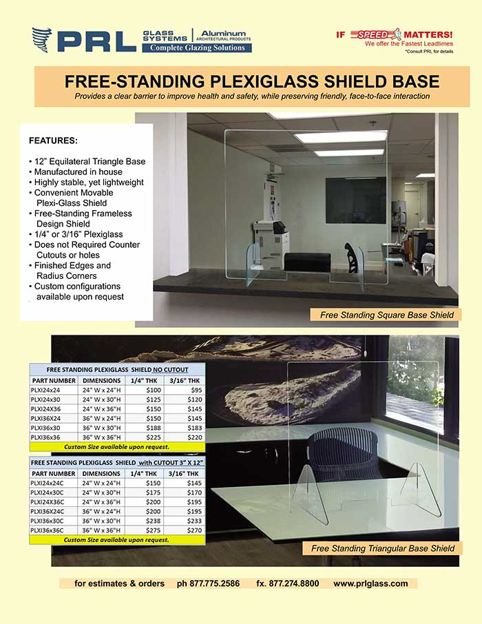 Protective Plexiglass Shields. Lighter, Self-Supporting & Easily Movable!