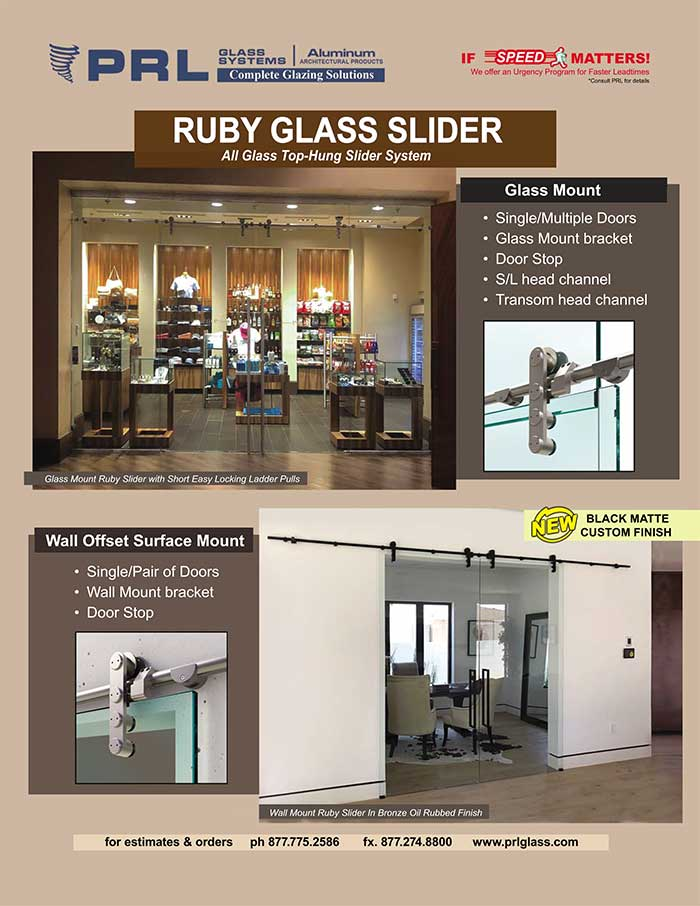 Ruby All Glass Sliding Doors. Get Interior Entries with Boundless Views at PRL!