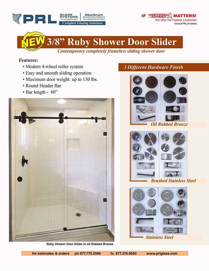 PRL's New Ruby Shower Door Slider – A Completely Frameless Contemporary Sliding Shower Door!