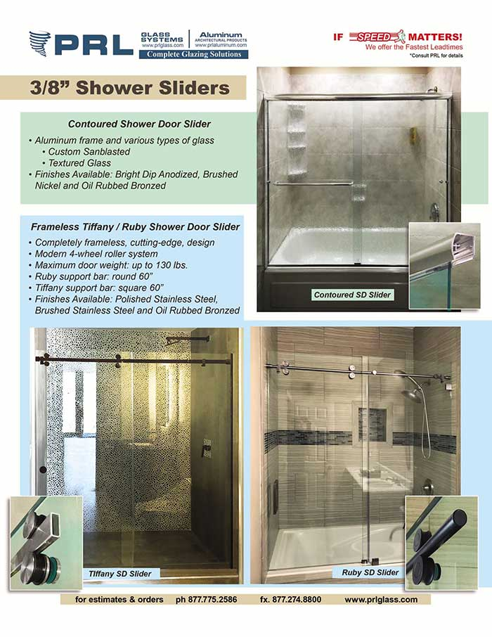 PRL's 3 Shower Door Sliders: The New Ruby, Tiffany & Standard Contoured Series