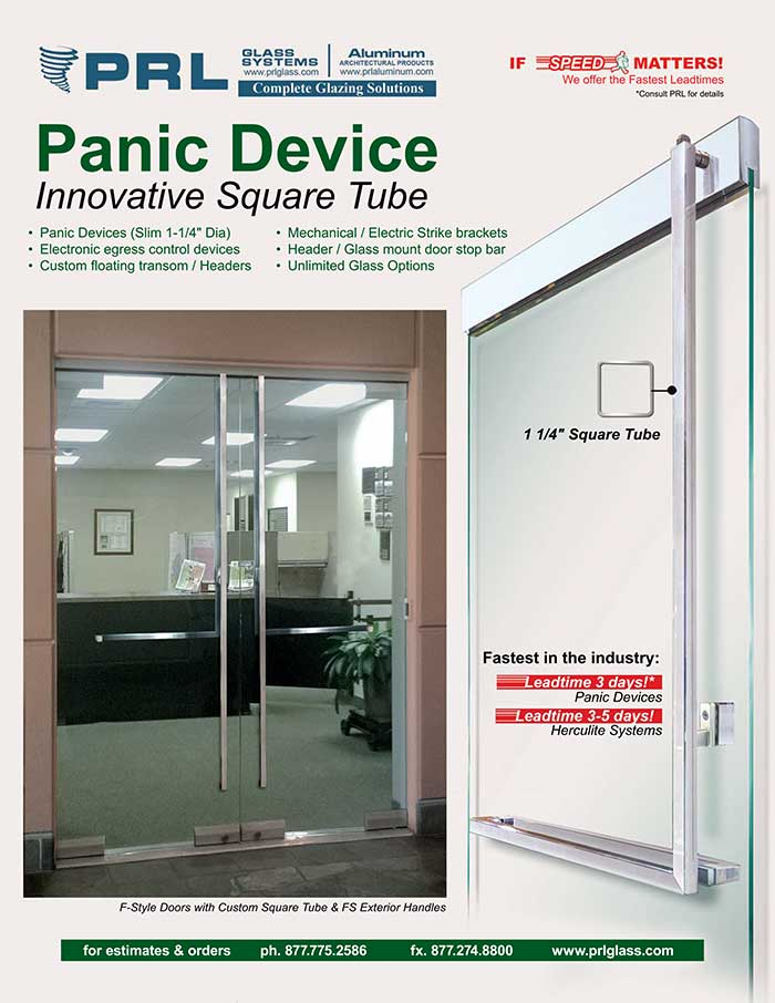 Square Tube Panic Device Boasts a clean, sleek design with mitered corners for a modern appearance.