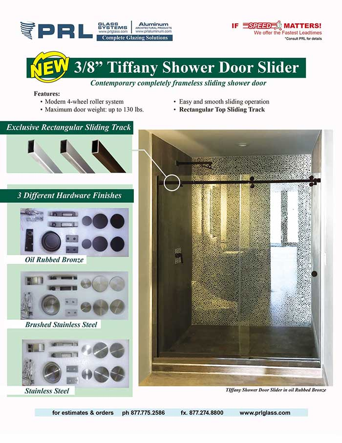 PRL's New Tiffany Shower Door Slider- A Visionary Sliding Shower Door That's Completely Frameless!
