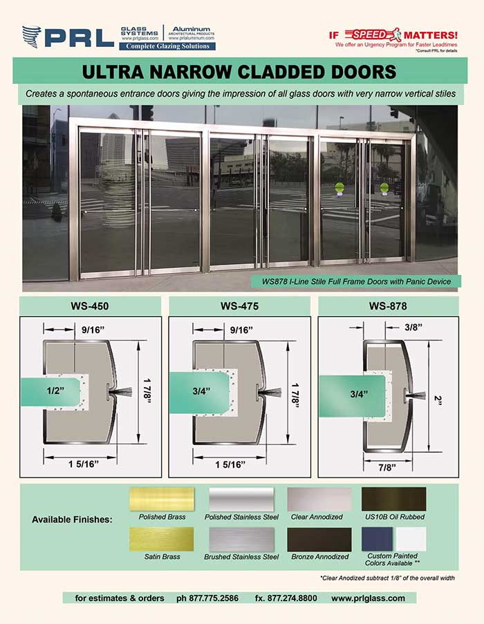 Ultra Narrow Stile I-Line Doors from PRL! Southern California's Leading Glazing Manufacturer!